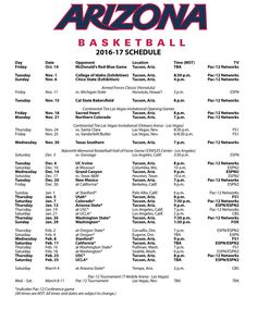 "Arizona Basketball on Twitter: ""Our schedule is out with tip times & TV…"