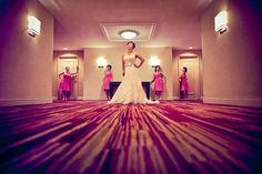 Indoor bridal party shot by: Laffler Photography
