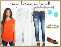 This is a PERFECT transition to fall look!  Love the color combo of the orange top with the turquoise jewelry, distressed jeans, and leopard flats!  Sources on blog....