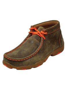 "Twisted X Youth""s Neon Orange Trimmed Brown Bomber Driving Mocs ""Casual shoes for young men"" bright color weathered leather padded collar cushion insole lug outsole Sock Shoes, Shoe Boots, Shoes Sandals, Western Wear Stores, Twisted X Boots, Orange Twist, Kids Boots, Casual Boots, Cowboy Boots"