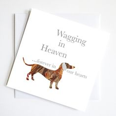 wagging in heaven dachshund greeting card - Dog Greeting Cards