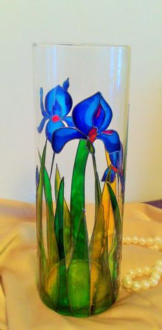 Lilium Cylinder Vase by Vitray on Etsy | Hand painted stained glass.