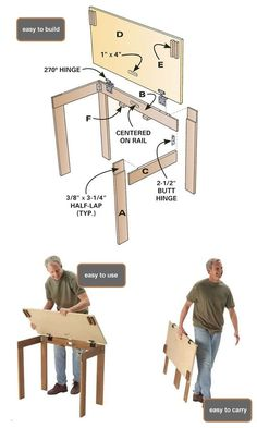 Good project, a portable table Bon projet, une table portable Beginner Woodworking Projects, Easy Woodworking Projects, Popular Woodworking, Woodworking Furniture, Teds Woodworking, Woodworking Joints, Woodworking Machinery, Woodworking Classes, Small Woodworking Shop Ideas