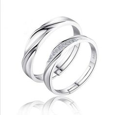 1Pair Rhinestone Lovers Rings Couple Rings Silver Color Adjustable Size Jewelry