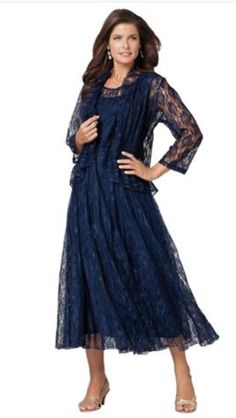 e419adc9a3f Roamans Women s Plus Size Fit   Flare Lace Jacket Dress (Midnight W)