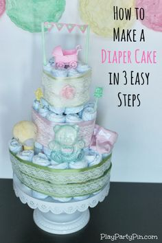 How to Make a Diaper Cake in 3 Easy Steps from playpartypin.com #EviteBabyTrends #paid