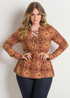 Bata com Amarração Mandalas Plus Size - Quintess