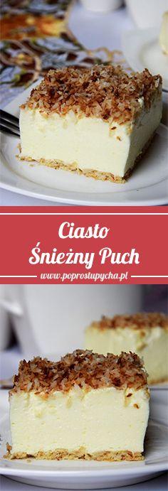 Ekspresowe #ciasto Śnieżny Puch! <3 To ciasto mnie ciekawiło od dawna… Słyszałam już o nim kilka razy i w końcu wykonałam to słynne ciasto.! Moja opinia w skrócie- rewelka :) W smaku przypomina mega lekki #sernik, coś a`la ptasie mleczko. Wykonanie - 20 minut! :) Czego chcieć więcej... :) #poprostupycha