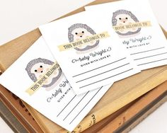 Personalized Bookplates Woodland Baby Shower by PeraPress on Etsy