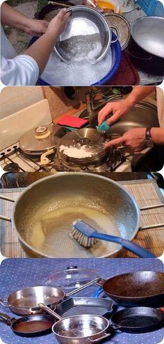 Чистка сковороды и кастрюль до идеального блеска Cleaning Recipes, Cleaning Hacks, Me Clean, Clean House, Health Tips, Life Hacks, Kitchen Appliances, Cooking, Home Decor