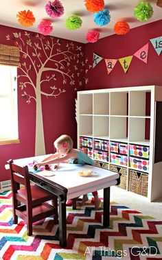 I like this rug Unpacking After Moving, Playroom Art, Playroom Ideas, Colorful Playroom, Playroom Storage, Ikea Expedit, Toy Rooms, Craft Rooms, Kids Rooms