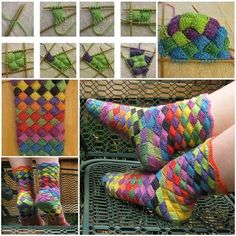 Oh if only I could knit socks. or entrelac. Ravelry: Lonely Socks Club: Entrelac Sock pattern by Natalia Vasilieva Crochet Socks, Knitting Socks, Knit Crochet, Knit Socks, Knitting Needles, Knitting Projects, Knitting Patterns, Crochet Patterns, Crochet Ideas