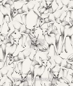 Deer Animal Sketch Pattern Repeat. Download this design & print on your T-Shirts or products today