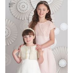These child's and girls' dresses are perfect for any occasion. Make in special occasion fabrics for holiday dressing, or in coordinating cotton prints for fun everyday dresses. Pattern also includes short sleeve jacket with trimmed bows.