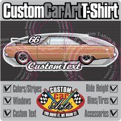 Custom Art T-Shirt 68 1968 Plymouth /'Cuda Barracuda Formula S Fastback 383 440