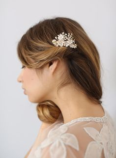Beaded floral bridal comb, hair comb, twigs and honey