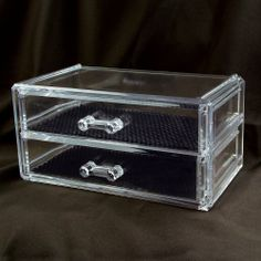 "2 Drawer Acrylic Jewelry and Cosmetic Storage Display Box 7 1/4""w X 4""d X 3 1/2""h . Inner compartment size : 6 3/8""W x 3 1/2""Dx 1 1/4""H NILECORP,http://www.amazon.com/dp/B00B5WWPT6/ref=cm_sw_r_pi_dp_7fB2sb1WTD0STM50"