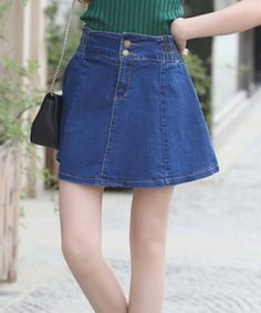 EC07236 Summer denim puff skirt high waist short skirt for women