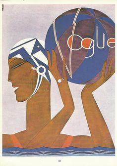 Vogue magazine cover Water Polo Swim Hat Ball 1927 Fashion Illustration Vogue Poster Art Deco Home Decor Print Fine Art