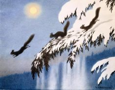 Ekorn i Flukt (Squirrel in Escape) -- Theodor Severin Kittelsen -- (winter illustrations, art snow, evergreen tree) Nature Paintings, Animal Paintings, Winter Illustration, Illustration Art, Book Illustrations, Theodore Kittelsen, Most Popular Artists, Art Database, Traditional Art