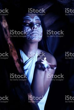 Cute girl with creative make up for the Halloween royalty-free stock photo