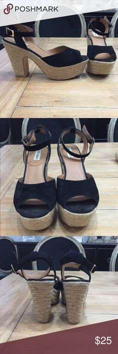 Black Steve Madden Wedges Black Steve Madden Wicker Wedges. In excellent condition, only worn once!! All prices are negotiable but please use the OFFER button in order to make me a different offer. I will do bundles just let me know what you are interested in but NO trades  Steve Madden Shoes Wedges
