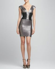 Two-Tone Metallic Bandage Dress by Herve Leger at Neiman Marcus.