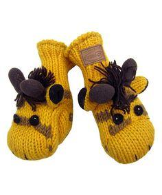 Loving this Yellow Giraffe Wool-Blend Mittens on #zulily! #zulilyfinds
