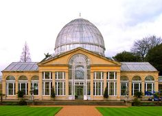 Syon Park was designed and built by Charles Folwer in 1827.  The central pavilion with the dome was a palm house that used steep-side cast-iron ribs to create the dome.  It is located in Brentford, Middlesex, England.  Photo: Steve Cadman