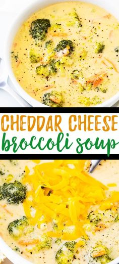 Broccoli Cheddar Cheese Soup Recipe - Easy broccoli cheese soup is a quick and easy family dinner idea that comes together in a snap. You ll love the cheesy flavor! via casserolecrissy Cheese Soup Recipe Easy, Quick Soup Recipes, Chicken Soup Recipes, Beef Recipes, Healthy Recipes, Chowder Recipes, Cheesy Broccoli Soup, Broccoli Cheddar, Broccoli And Cheese