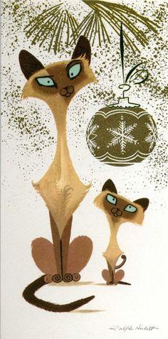 Siamese Cats retro Christmas card by Ralph Hulett
