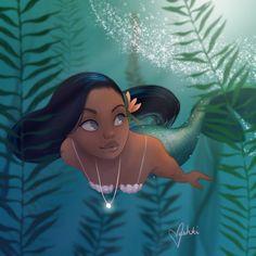 Fantasy on Mermaids and Fairies. 27 photos by Vashti Harrison Illustration Fantasy Mermaids, Mermaids And Mermen, Real Mermaids, Black Mermaid, Mermaid Art, Vintage Mermaid, Manga Mermaid, Tattoo Mermaid, Black Love Art