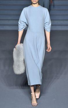 Light Blue Wool Dana Maxi Dress by Emilia Wickstead Now Available on Moda Operandi
