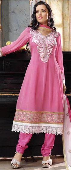 Pink Full Sleeve Faux Georgette Knee Length Churidar Suit 18670