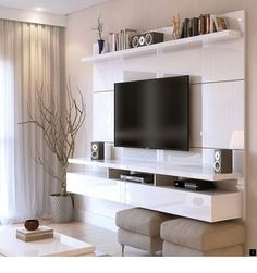 Floating Entertainment Center Wall TV Mount Stand Theater Screen White Gloss - Home Theater Floating Entertainment Center, Home Entertainment Centers, Entertainment Products, New Living Room, Living Room Decor, Tv Wall Decor, Wall Tv, Shelf Wall, Tv Stand With Mount
