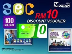 Get Free RM10 SEC Discount Voucher just with 100 MO-Point.   Log on to : www.moxian.com/moreward or by using our Moxian app.
