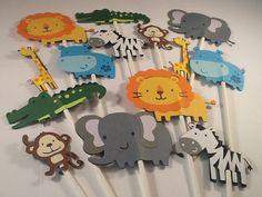 Jungle Safari Animals - Set of 14, Lion, Elephant, Zebra, Monkey, Alligator, Hippo, Giraffe, Baby Shower Decor, First Birthday Party
