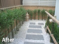 The new garden is fresh, inviting and aesthetic. The white pebble stones have replaced the grass as a ground cover, and rectangular grey stone has been used for the main pathway. Planting along the side of the house has covered the pipe work and condenser on the corner. Some Japanese style ornaments, bamboo fence and planting finish off the look, to create a real Japanese style garden.