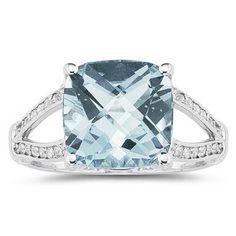 Cushion Cut Aquamarine and Diamond Ring 10k White Gold - SPR8344AQ7.0