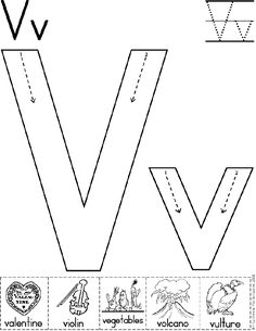 Alphabet Letter V Worksheet | Standard Block Font | Preschool Printable Activity