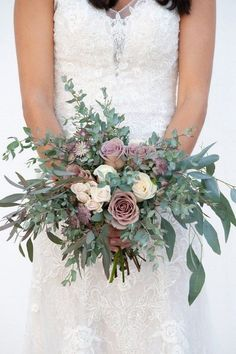 Dusty Pink Bridal Bouquet, Blush and Dusty Pink Wedding Flowers, Mauve & Blush Wedding, Romantic Wed Everything you need to create beautiful fresh flower arrangements for your big day. We ship the fresh flowers you need to recreate our Diy Bouquet Mariage, Rose Bridal Bouquet, Diy Wedding Bouquet, Blush Bouquet, Flower Bouquets, Purple Bouquets, Rustic Bridal Bouquets, Eucalyptus Bouquet, Flower Crowns