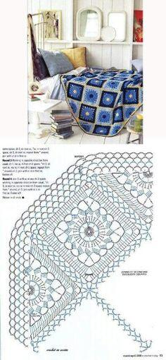 Manta crochet con diagrama