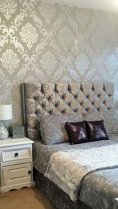 HENDERSON INTERIORS Chelsea Glitter Damask Wallpaper Soft Grey, Silver The perfect way to create a luxurious feel throughout your home is with a stunning feature wall. Damask Bedroom, Glitter Bedroom, Silver Bedroom, Bedroom Bed Design, Home Room Design, Bedroom Colors, Bedroom Decor, Bedroom Ideas, Box Bed Design