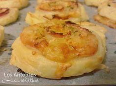 Espirales de hojaldre con jamón y queso - Los Antojitos de María