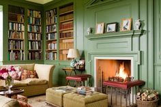 Cozy green library in Shilstone House - restored by Sebastian and Lucy Fenwick, a Georgian house in the heart of the Devon countryside.