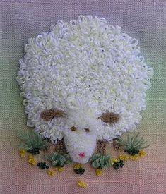 Needle Punch Embroidery Sheep on colored background Punch Needle Patterns, Embroidery Patterns Free, Embroidery Needles, Silk Ribbon Embroidery, Cross Stitch Embroidery, Hand Embroidery, Embroidery Designs, Sunburst Granny Square, Granny Square Blanket