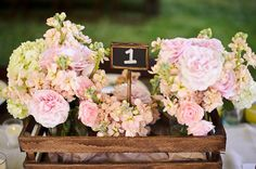beautiful floral arrangements in soft pink, peace and light green