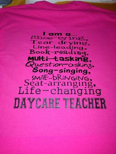 I Am A Daycare Teacher Preschool PreK tshirt by MissyLuLus on Etsy, $19.00