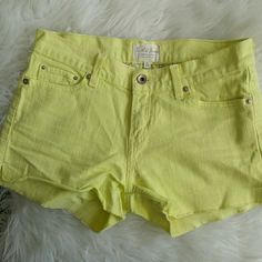 Yellow Jean Shorts White-Yellow Shorts. Cut offs. Faded look. Levi's Shorts Jean Shorts