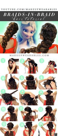How to get glamorous braids as big as Frozen Elsa in a braids-in-braid hairstyle | #hair #tutorial #beauty #braid #easyhair #hairstyles #diy #frozen #elsa #elsahair
